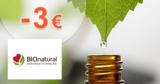 BioNatural.sk zľavový kód zľava -3€, kupón, akcia