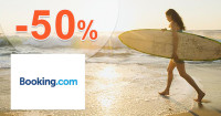 Booking.com zľavový kód zľava -50%, kupón, akcia