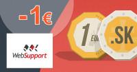 WebSupport.sk .SK domény zľavový kód zľava -1€, kupón, akcia
