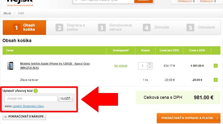 Ako uplatniť zľavový kód na Hej.sk