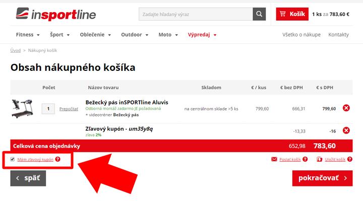 Ako uplatniť zľavový kód na inSPORTline.sk