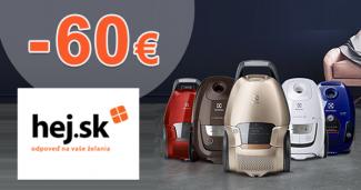 Cashback -60€ na tiché vysávače Electrolux na Hej.sk