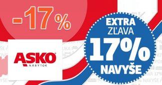 Extra ZĽAVA až -17% NAVYŠE na ASKO-nabytok.sk