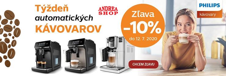 Extra zľava -10% na kávovary Philips na AndreaShop