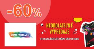 Neodolateľné výpredaje až -60% zľavy na Differenta.sk