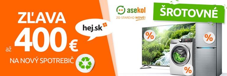 ŠROTOVNÉ až -400€ na nový spotrebič na Hej.sk