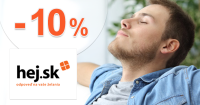 Zľava -10% na celý sortiment produktov na Hej.sk
