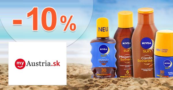 Zľava -10% na opaľovacie krémy Nivea na myAustria.sk