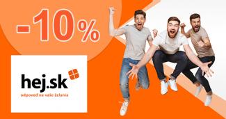 Zľavový kód -10% ako EXTRA ZĽAVA na Hej.sk