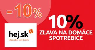 Zľavový kód -10% na domáce spotrebiče na Hej.sk, kupón, akcia, poukážka