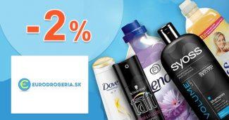 Zľavový kód -2% zľava k nákupu na EuroDrogeria.sk