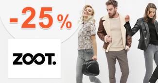 Zľavový kód -25% zľava AJ NA ZĽAVY na ZOOT.sk