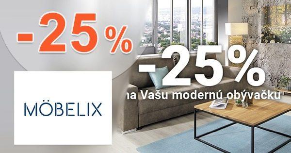 Zľavový kód -25% zľava na obývačky na Mobelix.sk