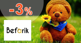 Zľavový kód -3% zľava na všetko na Betarik.sk