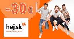 Zľavový kód -30€ zľava ako šrotovné na Hej.sk