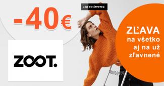 Zľavový kód -40€ ZĽAVA na všetko na ZOOT.sk