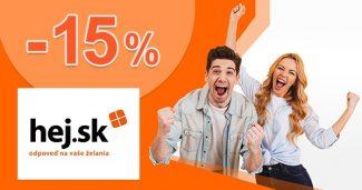ZĽAVA TÝŽĎNA Až -15% zľavové kódy na Hej.sk