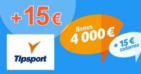 Zadarmo 15€ a bonus až 4000€ na TipSport.sk