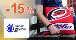 Zľavový kód -15% fanúšikom na SportObchod.sk