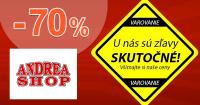 AndreaShop.sk zľavový kód zľava -70%, kupón, akcia, výpredaj