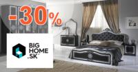 BigHome.sk zľavový kód zľava -30%, kupón, akcia, výpredaj, zľavy na spálne
