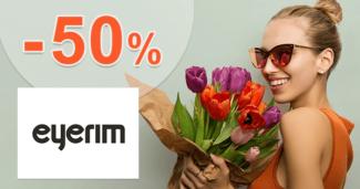Eyerim.sk zľavový kód zľava -50%, kupón, akcia, výpredaj na okuliare skladom