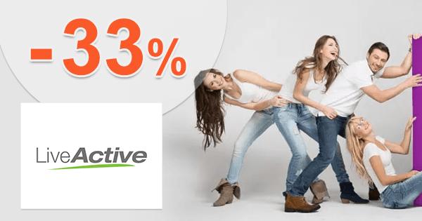 LiveActive.sk zľavový kód zľava -33%, kupón, akcia, výpredaj