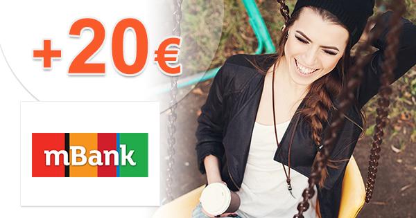 mBank mKonto bonus 20€, zdarma, bez poplatkov, kupón, akcia