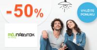 MojNabytok.sk zľavový kód zľava -50%, kupón, akcia, výpredaj, akcie, zľavy